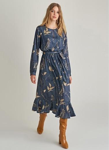 NGSTYLE Çiçek Desenli Saten Elbise Lacivert